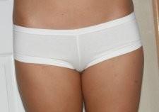 Cristal in white boy short panties