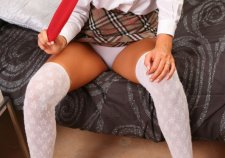 Tartan skirt and white panties