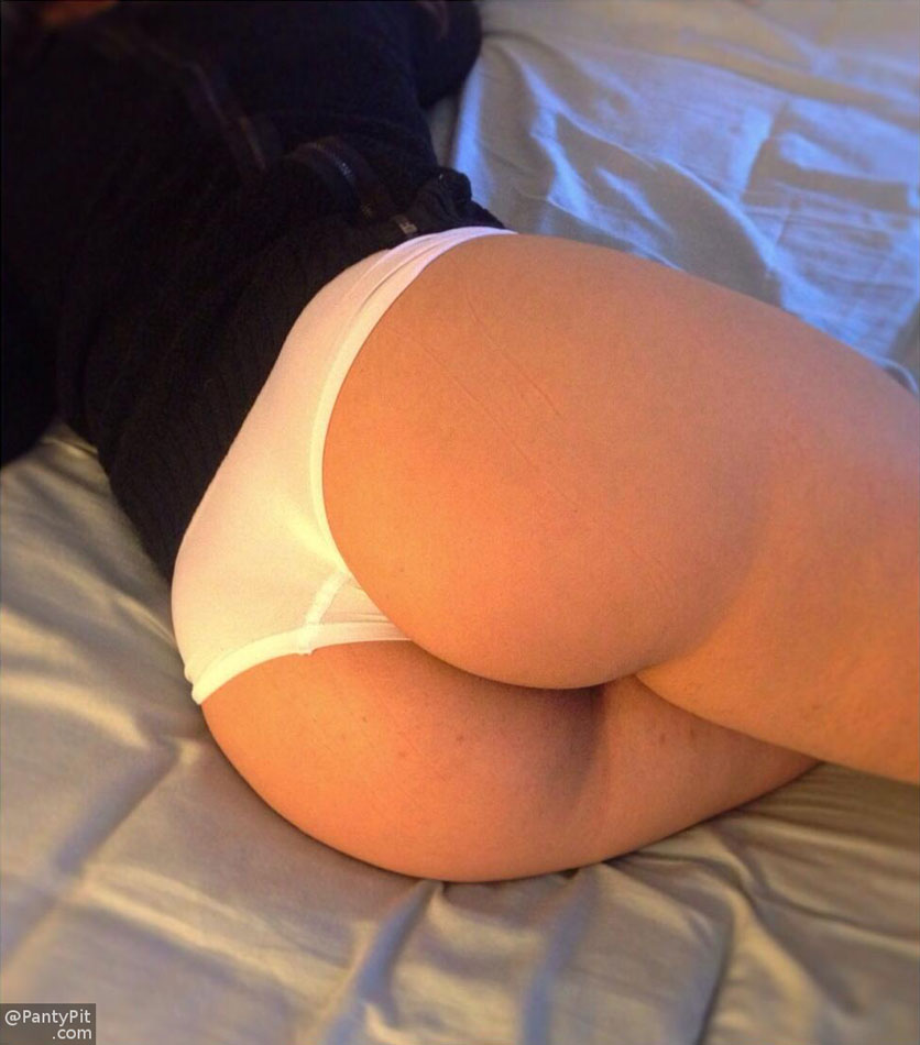 Sweet round ass in white cotton