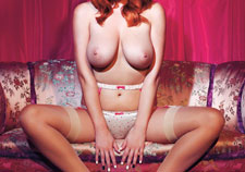 Redhead big tits and satin panty