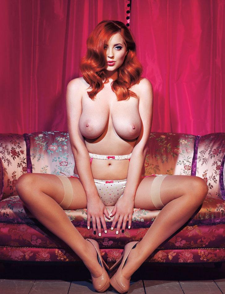 Redhead big tits and satin panty
