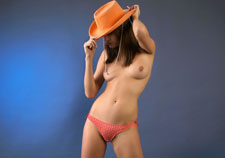 Perky babe in an orange thong