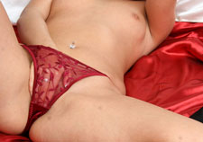 Red sheer satin panty rubbing