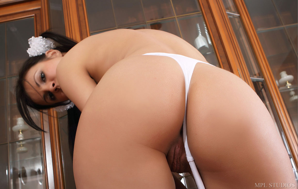 Schoolgirl in tiny white thong
