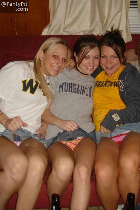 College girls flashing panties