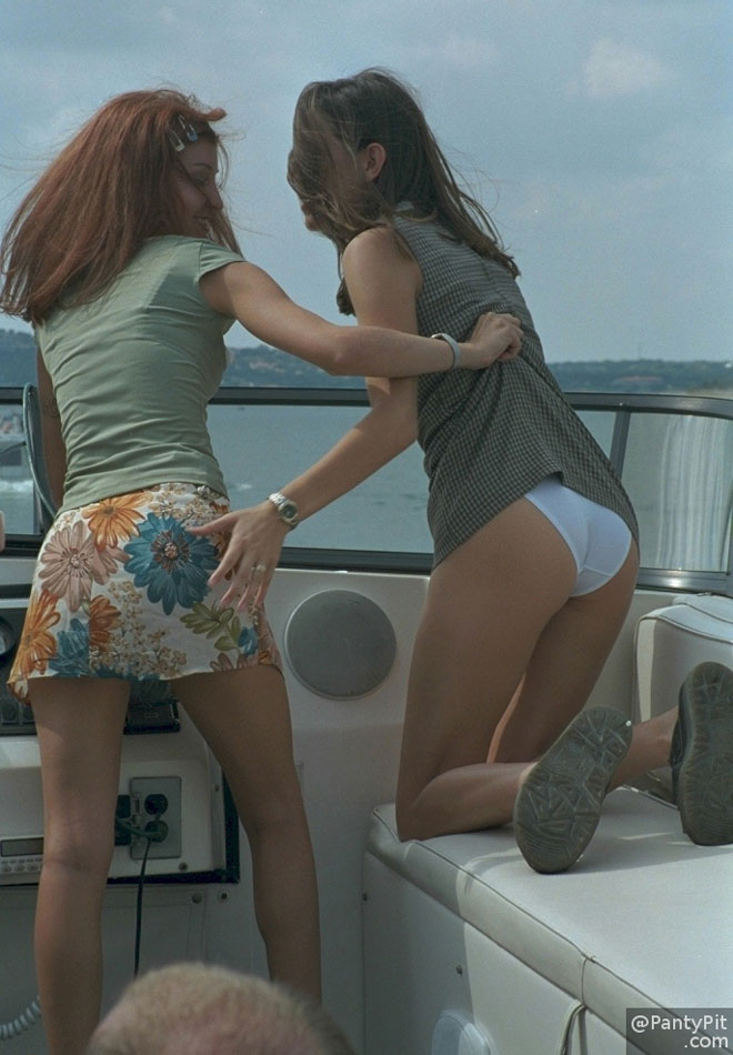 Showing panties on a boat