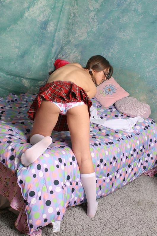 Schoolgirl doggie style panty pic