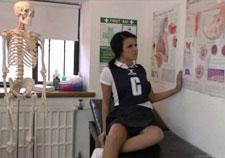 Sporty girl strips in nurses office