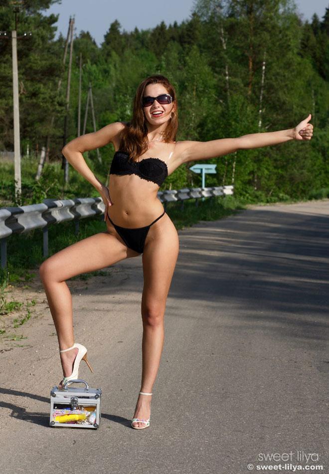 Sweet Lilya hitchhiking bra panties