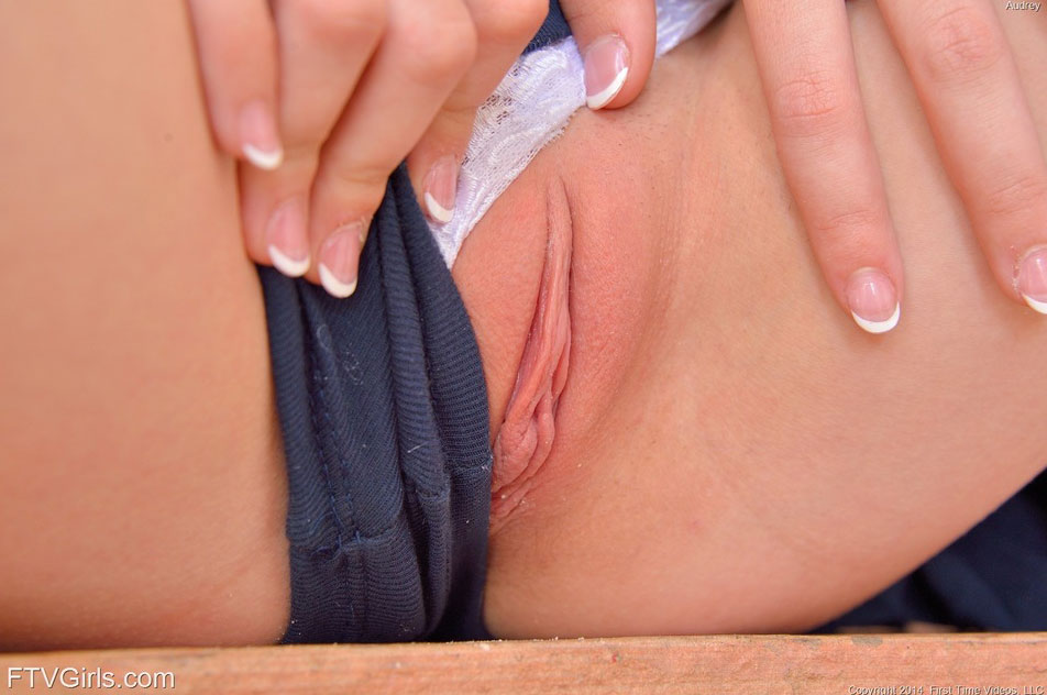 Closeup of shaved pussy in lace panties