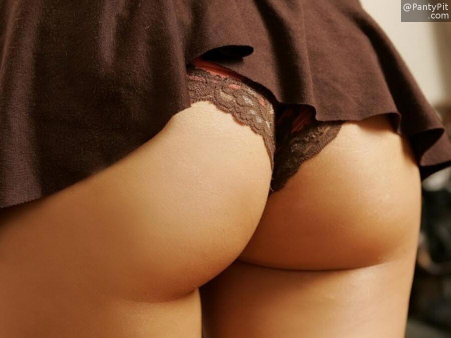 Sexy black lace thong panty peek