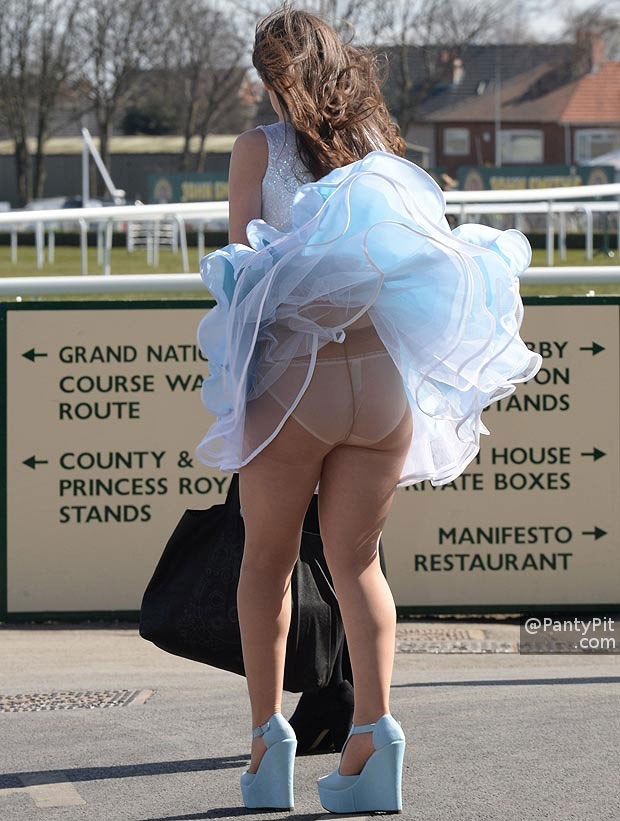 Windy upskirt in pantyhose