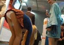 Candid panty peeks in public
