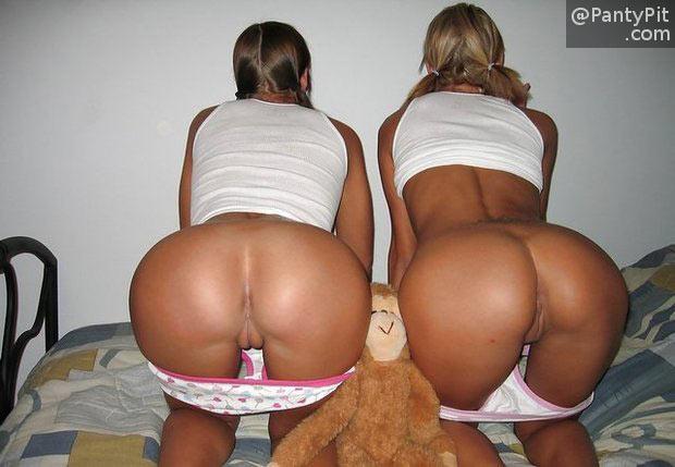 Cute ass college teens panties down