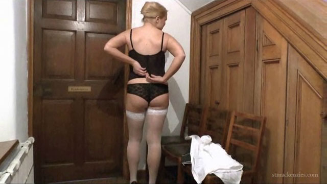 Teacher stripping out of lingerie