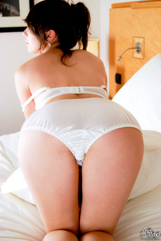 Ass in shiny white satin panties