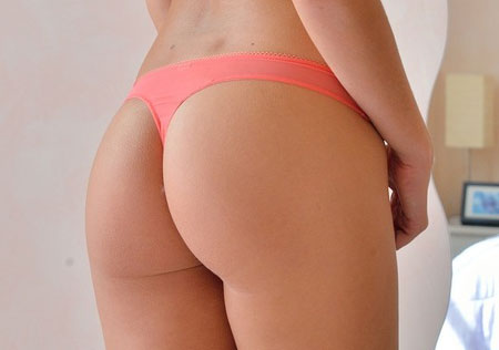Sexy ass thong babe showing off