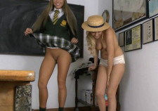 Schoolgirls undressing and swapping uniforms