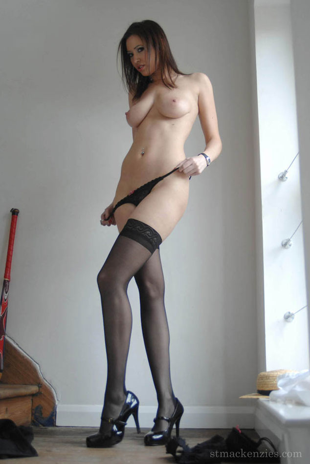 Teasing with her little black panties
