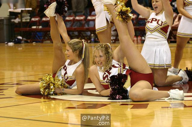 Cheerleaders flashing their panties