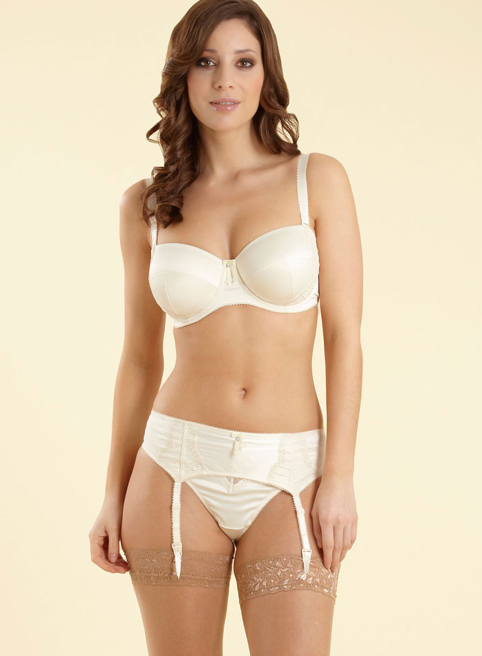 Sexy white lingerie model