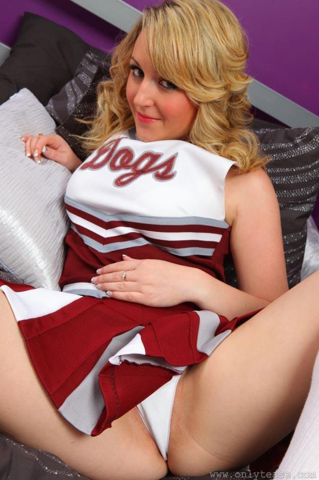 Cheerleader flashing panties