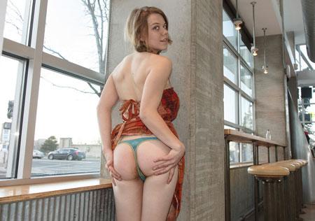 Hippie girl flashing thong in public