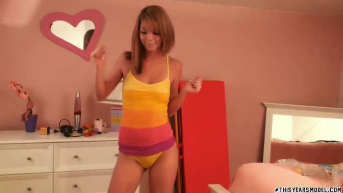 Cute teen dancing in underwear
