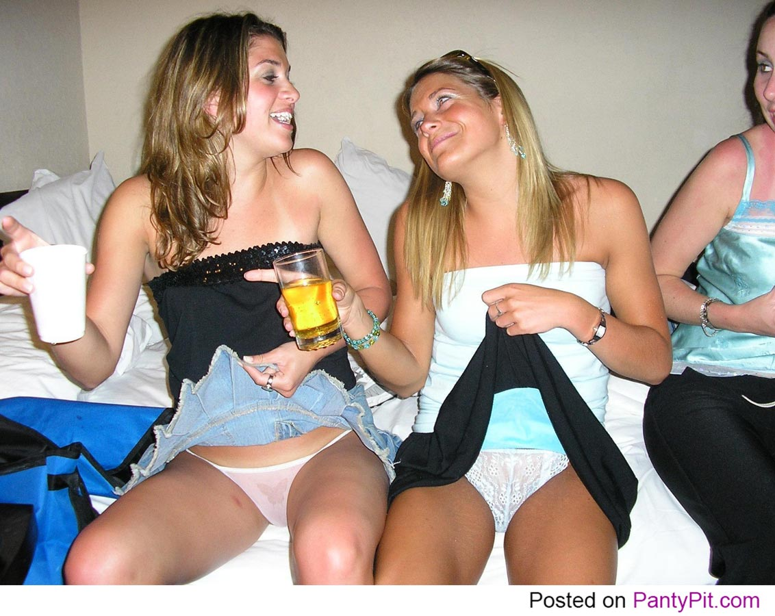 Drunk party girls lifting skirts