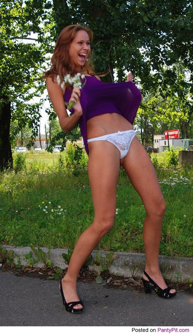Russian girl flashing her panties