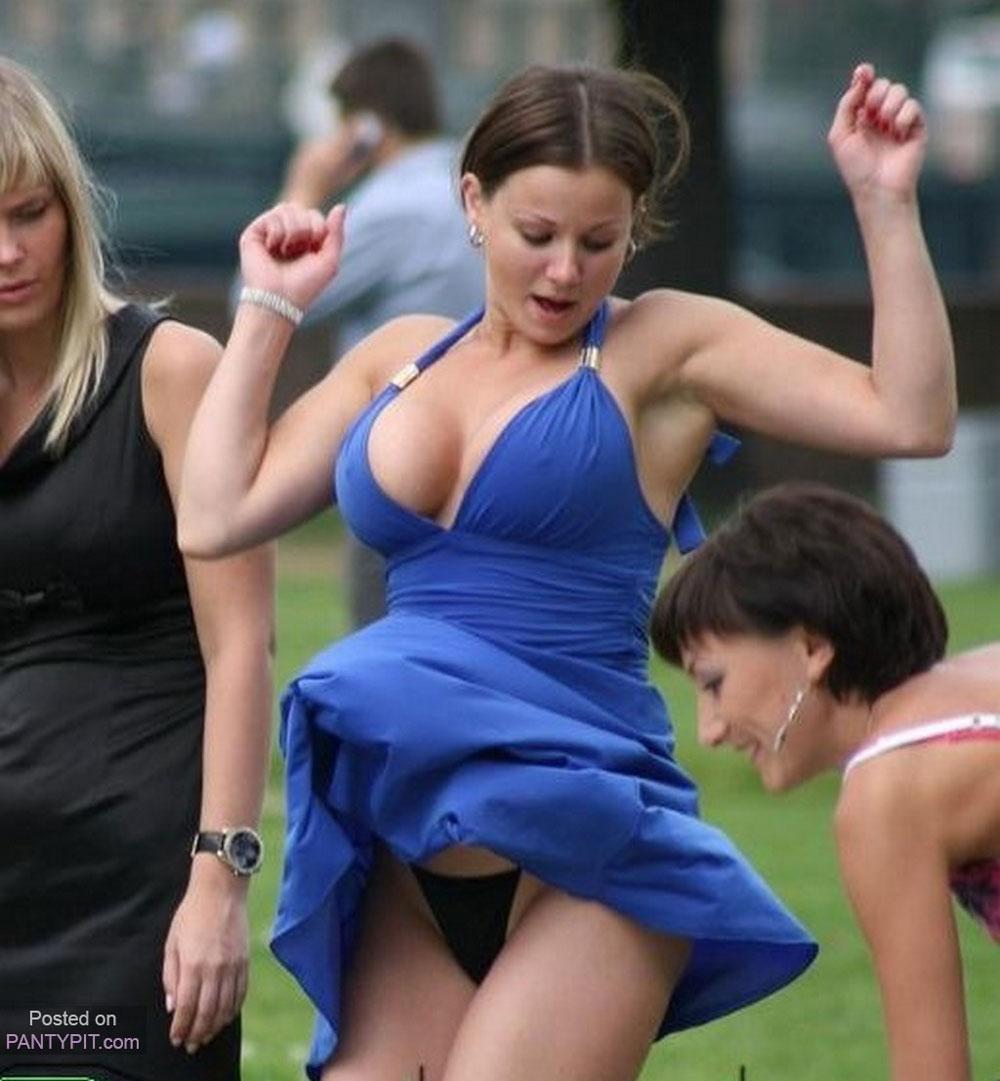 Big tits in a sexy dress