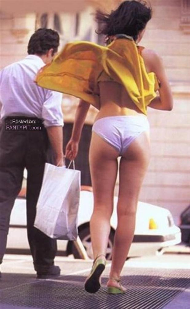Completely exposed panties in public