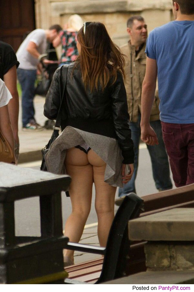 Cheeky panties peek in public